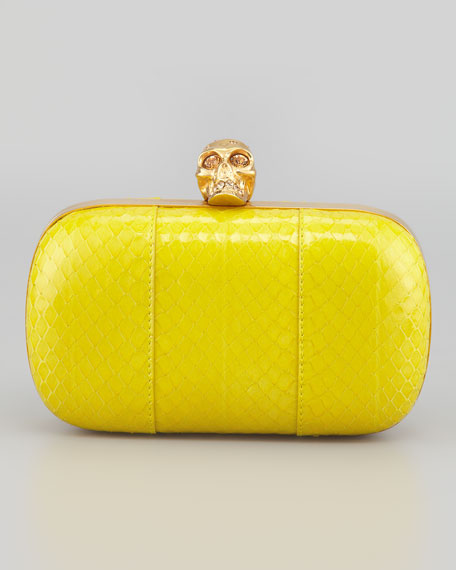 Classic Snake and Crystal Skull Box Clutch, Yellow