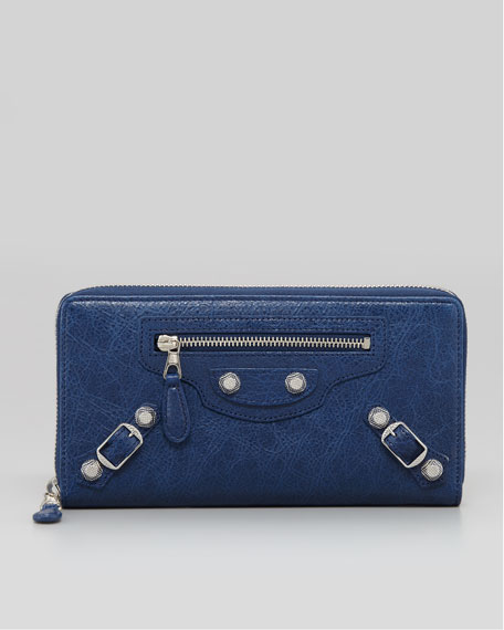 Giant Nickel Continental Zip Wallet, Bleu Mineral