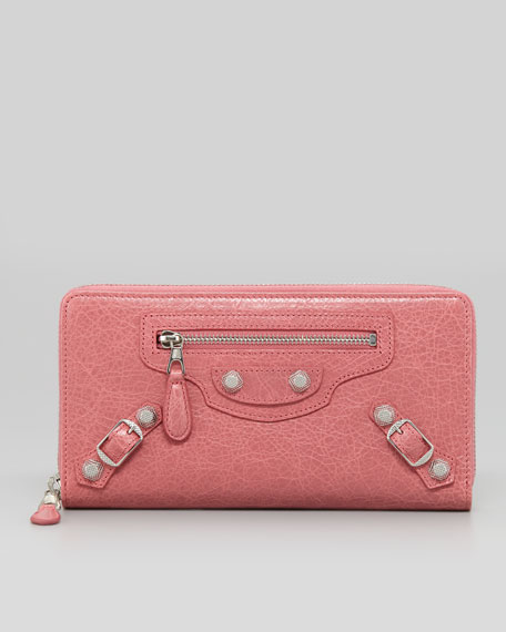 Balenciaga Giant Nickel Continental Wallet, Rose Bombon