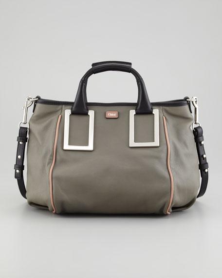 Ethel Medium Satchel Bag, Gray