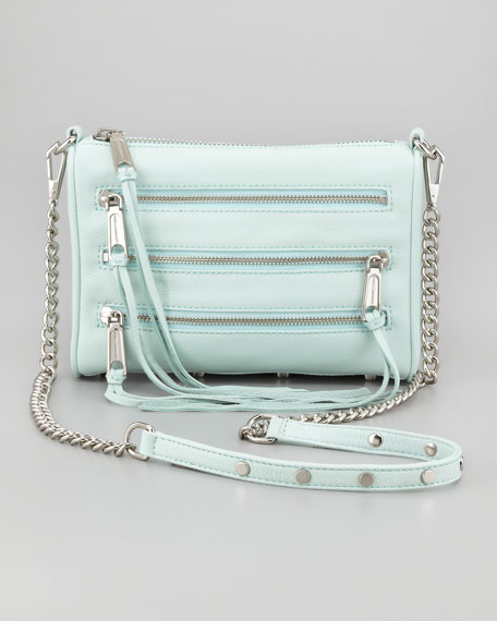 Five-Zip Mini Crossbody Bag, Mint