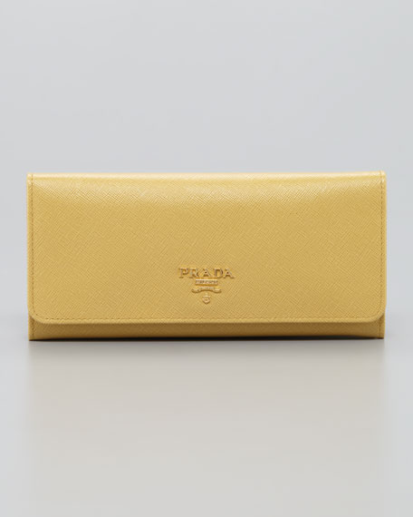 Saffiano Flap Wallet, Light Yellow