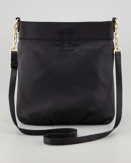 Stacked-T Crossbody Book Bag, Black