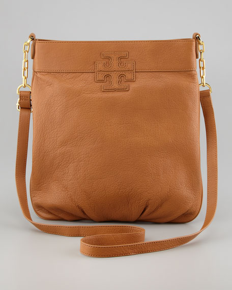 Stacked-T Crossbody Book Bag, Royal Tan
