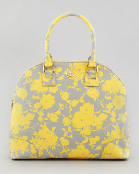 Floral-Print Coated Dome Satchel Bag, Yellow