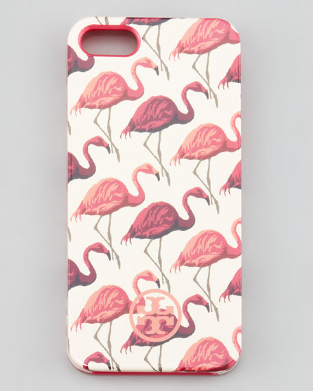 Flamingo-Print Soft iPhone 5 Case, Pink Multi