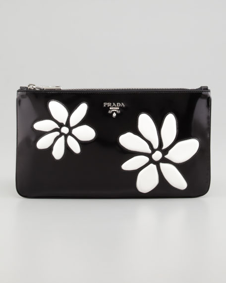 Small Spazzolato Zip-Top Flower Clutch, Black