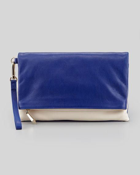 Morgan Calfskin Wristlet Clutch Bag, Cobalt/Bone