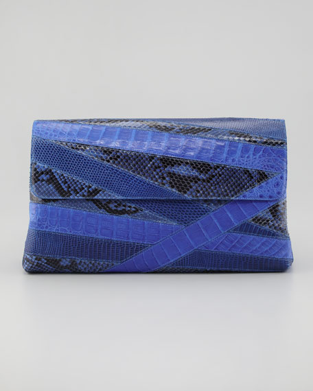Crocodile and Python Oversized Flap Clutch, Cobalt Blue