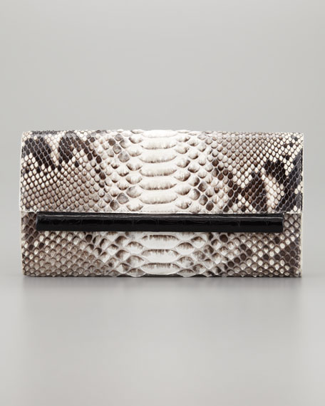 Python Front-Flap Crocodile Bar Clutch Bag, Natural