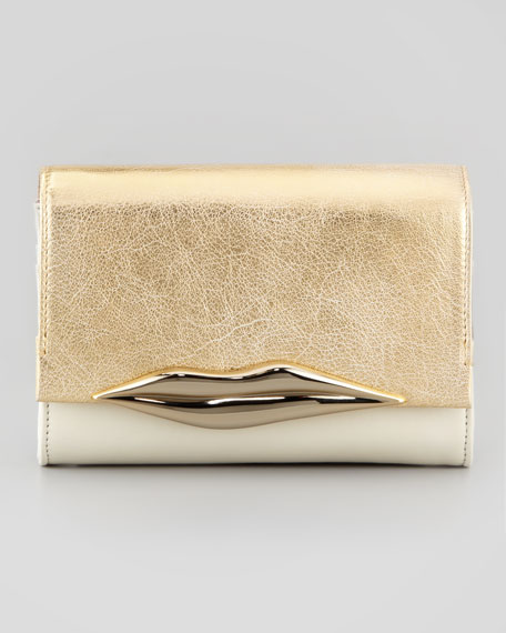 Lips Mini Metallic Clutch Bag, Light Gold