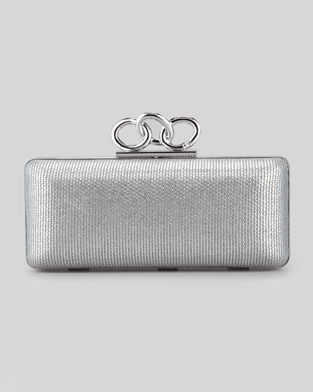 Sutra Leather and Metallic Chain-Top Clutch Bag, Silver