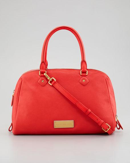 Washed Up Lauren Leather Satchel Bag, Flame Scarlet