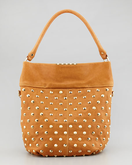 Cailey Studded Fold-Over Hobo, Chestnut