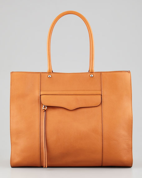 MAB Leather Tote Bag, Almond Brown