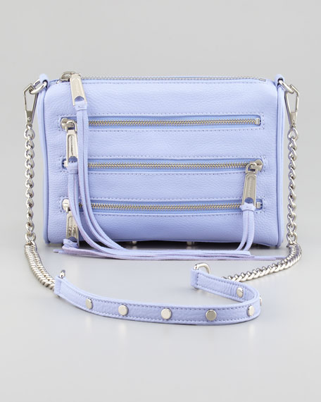 Five-Zip Mini Crossbody Bag, Lilac