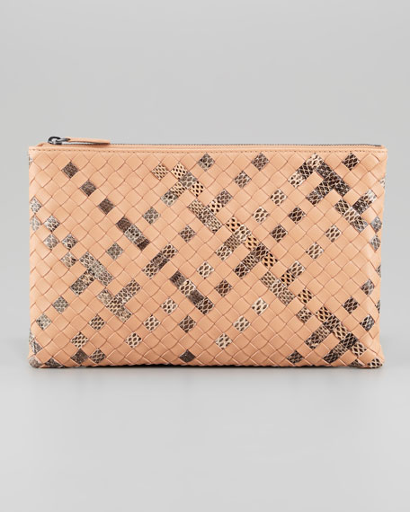 Extra Large Snake-Print Flat Cosmetic Bag, Camel