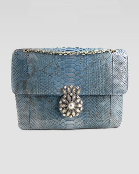 Zoe Flower-Clasp Python Clutch Bag, Blue