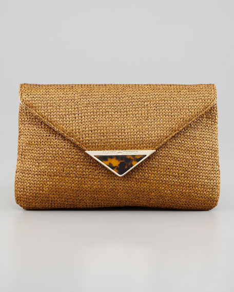 Bella Raffia Envelope Clutch Bag, Tobacco