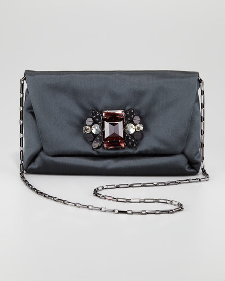 Crystal-Front Satin Clutch Bag