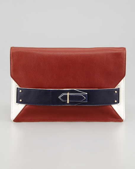 Colorblock Folio Clutch, Navy/White
