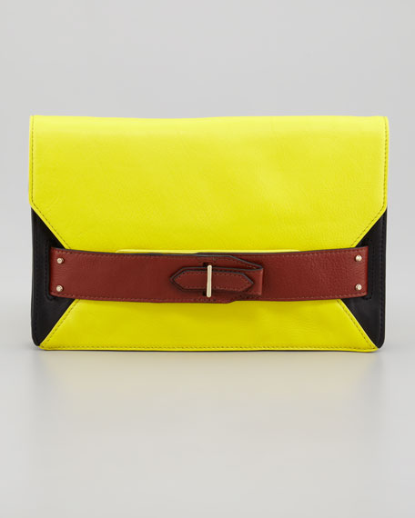 Colorblock Folio Clutch, Black/Yellow