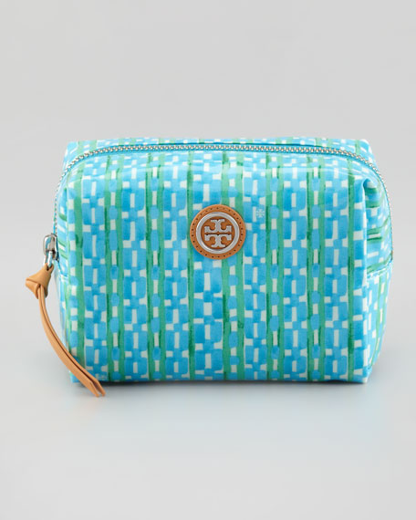Brigitte Link-Print Cosmetic Case, Turquoise Check