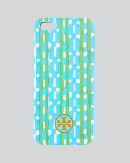 Painted Link Hard Shell iPhone 5 Case, Turquoise Check