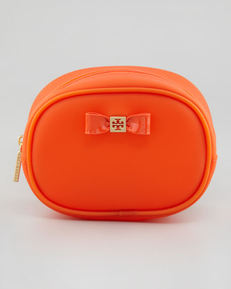 Small Jelly Bow Cosmetic Case, Electric Orange