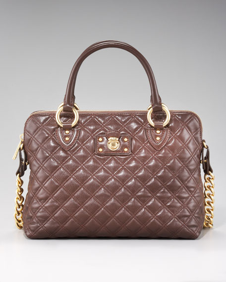 Quilted Standard Satchel, Dark Brown