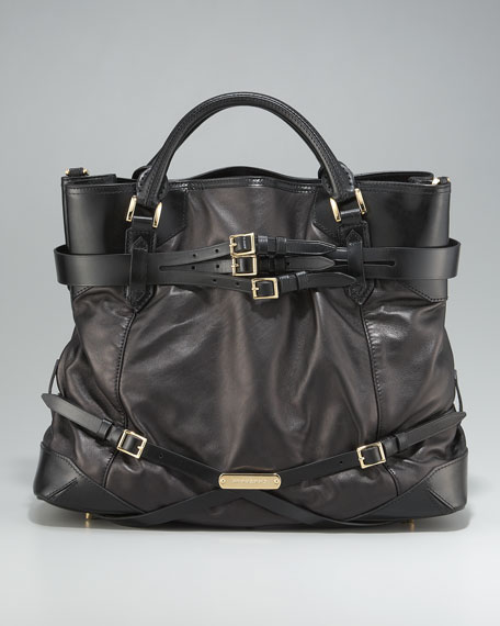 Belted Leather Tote, Large