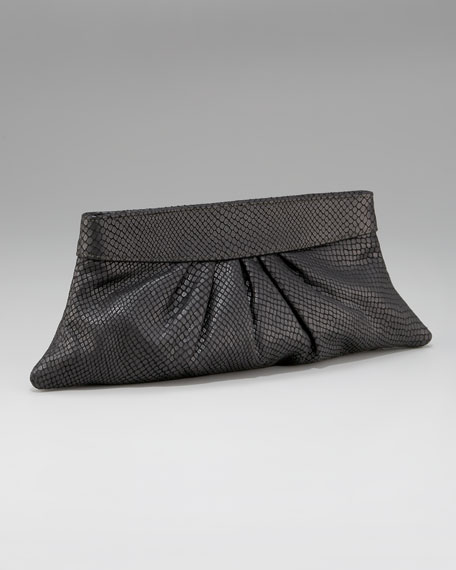 Louise Snake-Embossed Clutch