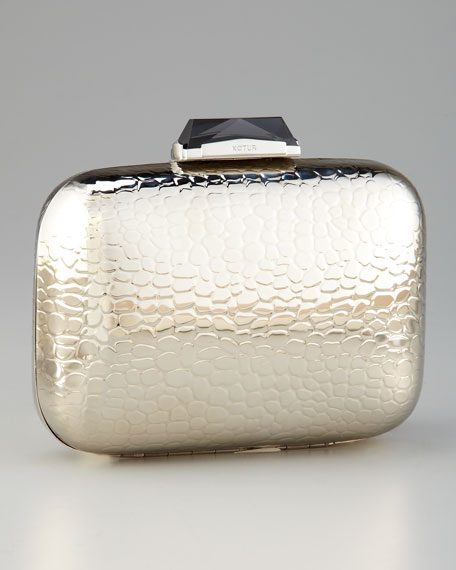 Morley Croc-Embossed Box Clutch