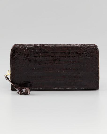 Crocodile Zip Continental Wallet