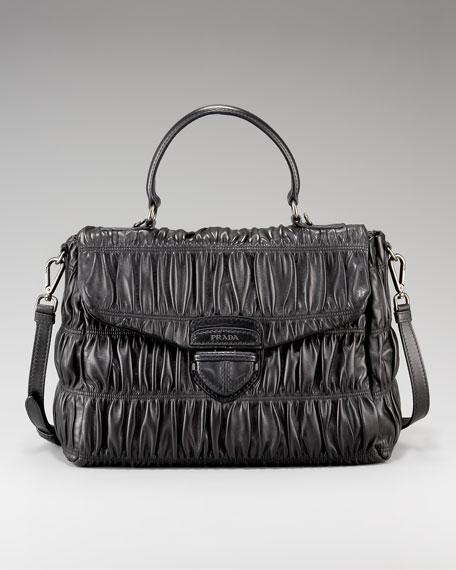 Medium Ruched Flap Bag