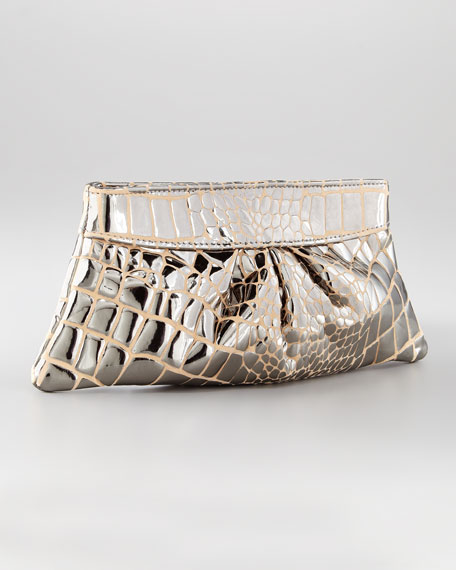 Eve Croc-Print Clutch Bag