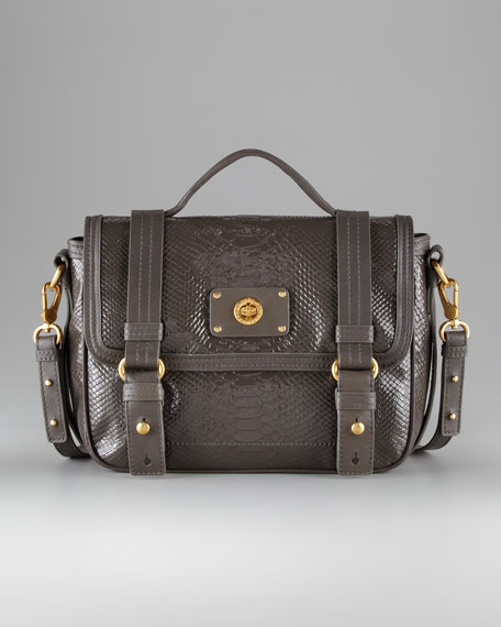 Python-Embossed Messenger Bag