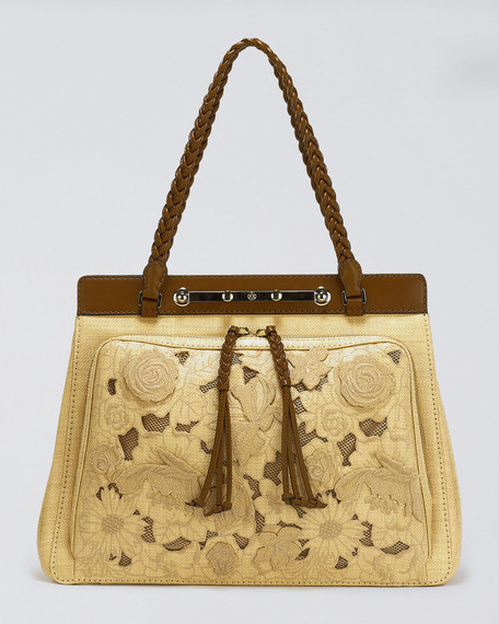 Demetra Straw-Lace Bag