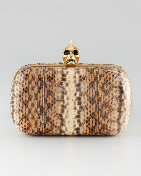 Whipsnake Skull-Clasp Clutch Bag
