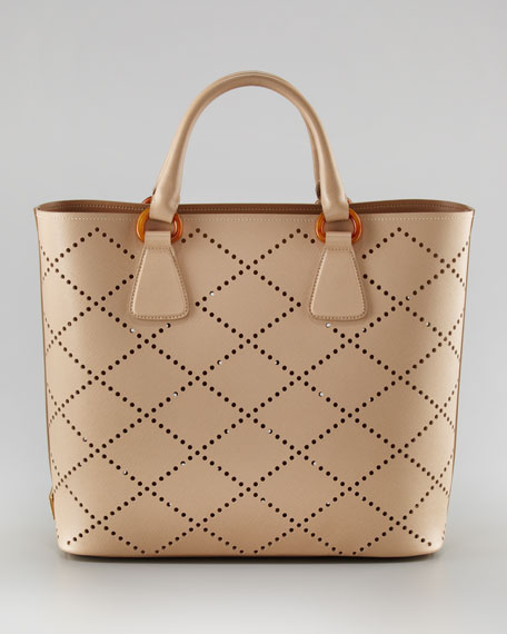 Perforated Saffiano Tote Bag