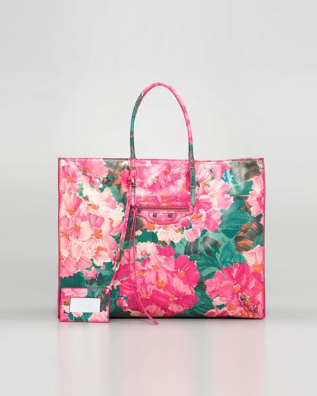 Papier Leather Tote Bag, Floral