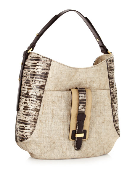 Gia Lizard-Embossed Hobo Bag