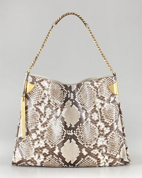 1970 Python Tassel Hobo Bag, Large