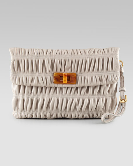 Ruched Leather Wristlet