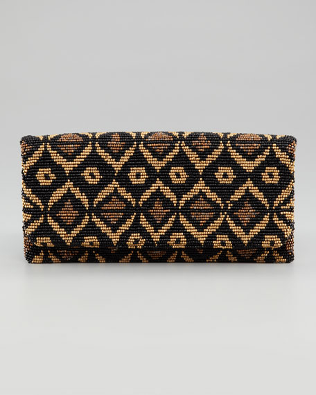 Fold-Over Beaded Silk Clutch Bag, Teardrop