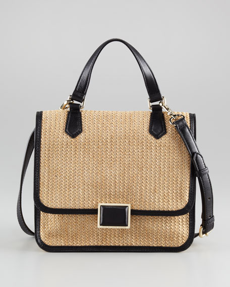 Raffia Top-Handle Messenger Bag