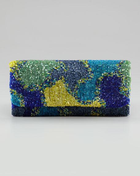 Fold-Over Beaded Silk Clutch Bag, Green Splash