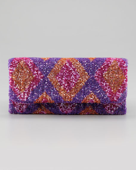 Fold-Over Beaded Silk Clutch Bag, Purple Splash