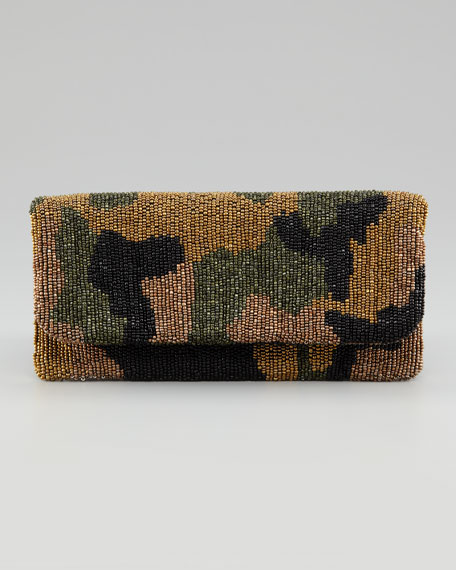Fold-Over Beaded Silk Clutch Bag, Camouflage