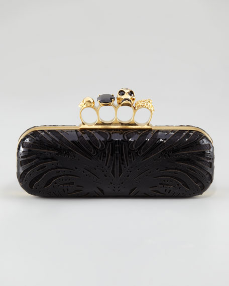 Knuckle-Duster Laser Lace Box Clutch Bag